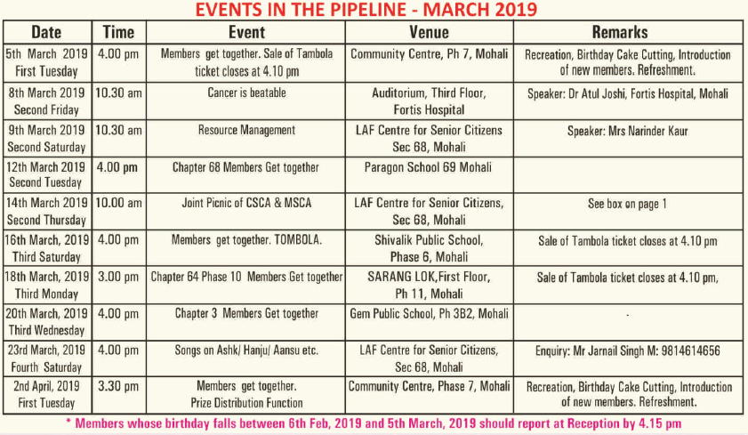 March 19 programme